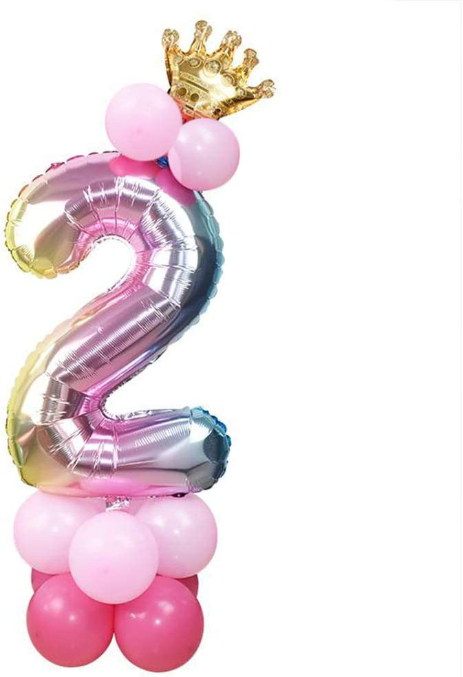 32inch Pink Number 4 Balloons Crown Balloon Digital Foil Balloon Premium Latex Balloons Combination for Kids Birthday Party Supplies Wedding Anniversarty Decoration
