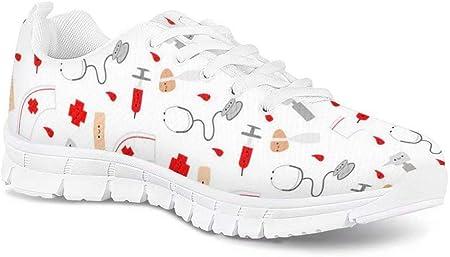 POLERO Nurse - Zapatillas para enfermera, patrón, para mujer, hombre, zapatillas deportivas, ligeras, para correr, gimnasio, zapatillas, zapatos de ocio, 36-45 EU