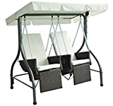 Outsunny 2 Seater Rattan Outdoor Garden Patio Swinging Hammock Chair Bench Bed Lounger Furniture - Brown