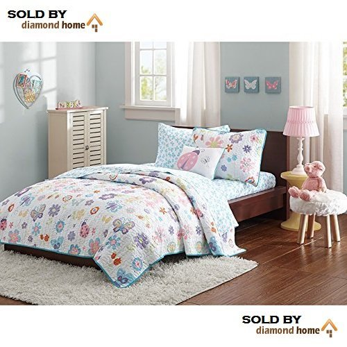 8pc Full Girls Butterfly Coverlet Bedspread Set, Kids Colorful Butterflies Ladybugs Decorative Pillow Pattern White Blue Pink Yellow Red - Bug Blue Set Sheet