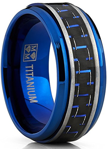 Men's Brushed Blue Titanium Wedding Bands Ring With Black and Blue Carbon Fiber Inlay, 9mm Comfort Fit (Mens Comfort Fit Titanium Ring)