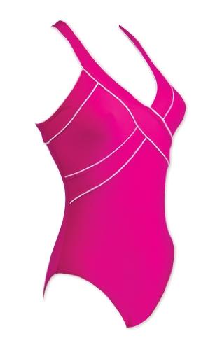 Zoggs Badeanzug Kiama X-Back - Bañador de una pieza para mujer, color rosa / blanco, talla 36 rosa / blanco
