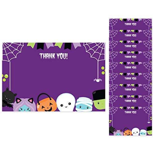 Halloween Thank You Cards (10 Count) With Envelopes Bulk Birthday Party Bridal Blank Graduation Kids Children Boy Girl Baby Shower (10ct. Thank You)