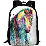 OIlXKV Colorful Watercolor Horse Painting Print Custom Casual School Bag Backpack Multipurpose Travel Daypack For Adult