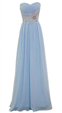 PrettyDresses Womens Long Light Blue Sleeveless Prom Dresses Evening Dress 2