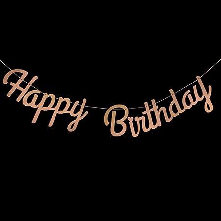 SYSFOUR Feliz cumpleaños Bunting Banner Letras de Astilla ...
