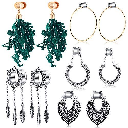 TIANCI FBYJS Stainless Steel Ear Tunnels Dangle Plugs Earrings Gauges for Women Piercing Stretcher Kit 2g-00g