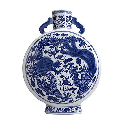 estinko Jingdezhen Blue and White Ceramic Porcelain Double Ears Round Home Decor Vase Dragon and Phoenix Traditional Chinese Vase