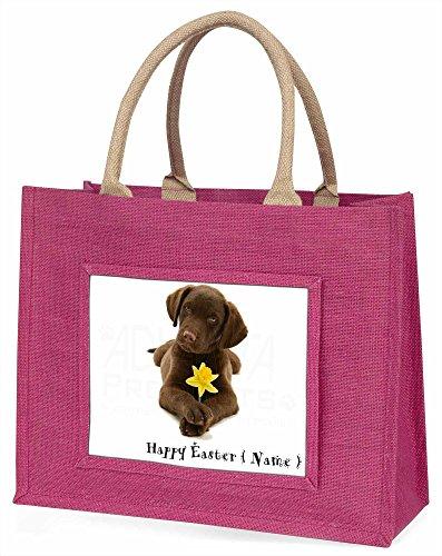 Advanta personalisierbar Schokolade Labrador große Einkaufstasche/Weihnachtsgeschenk, Jute, pink, 42x 34,5x 2cm