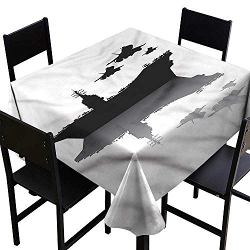 haommhome Polyester Tablecloth US Navy Aircraft Carrier Airplane Easy to Clean W50 xL50 Washable Polyester - Great for Buffet Table, Parties, Holiday Dinner, Wedding & More