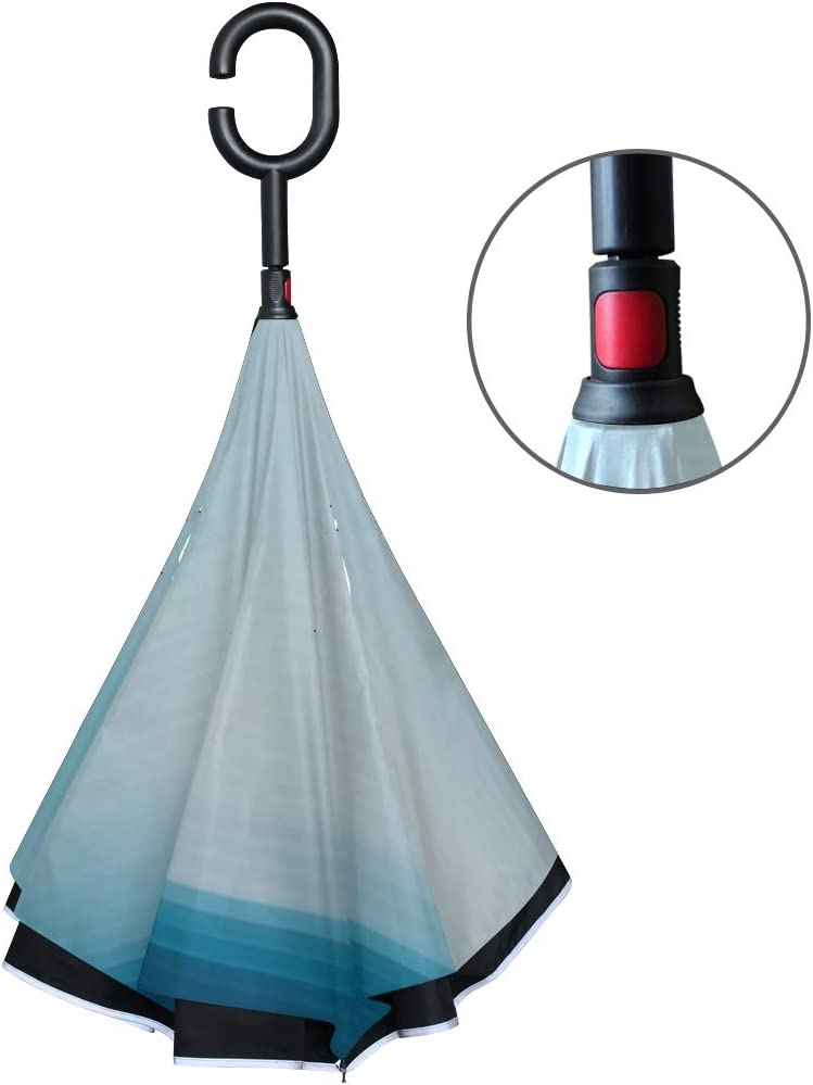 Double Layer Inverted Inverted Umbrella Is Light And Sturdy Blue Lines Background Reverse Umbrella And Windproof Umbrella Edge Night Reflection