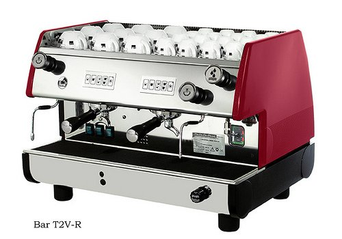 Steam Injector - La Pavoni BAR-T 2V-B Commercial 2 Group 14L Boiler Volumetric Espresso Machine, Red Side Panels, Chrome Plated Solid Brass Groups, 2 Flexible Steam Jets, Hot Water Tap with Flexible Jet, 220-240V