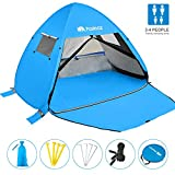 Pasinaz Pop Up Tent 3-4 People Family Beach Tent Camping Shelter Anti UV Sun Shade Outdoor Cabana Blue