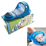 Feet Foot Cleaner,Bathroom Shower No Bending Feet Brush Foot Cleaning Bristle Slipper Washer Bath Scrubber Massager Stick on Floor (Blue)