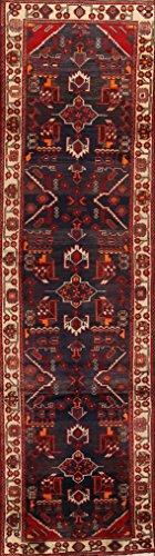 One-of-A-Kind Nahavand Tribal Handmade 4x13 Blue Wool Vintage Persian Oriental Runner Rug (12' 9