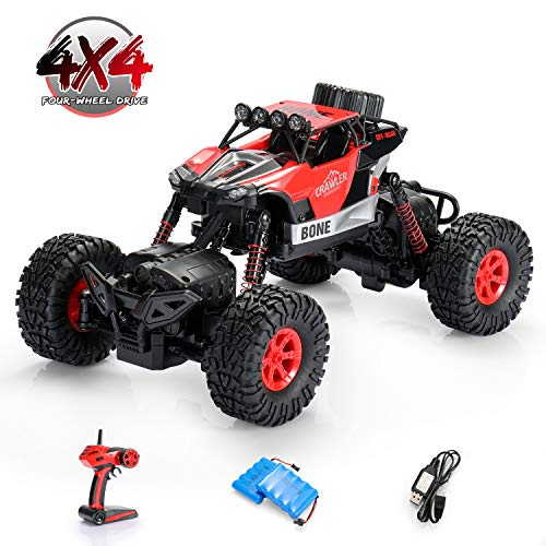 SainSmart Jr. 1: 16 RC Rock Crawler 4WD Large Size Remote Control Off Road Car with Two Rechargeable Batteries for Kids, 4x4 Waterproof Monster Truck 2.4Ghz