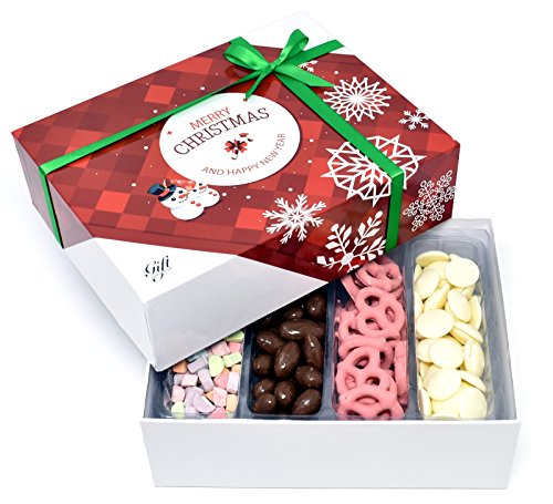 Gift Universe Christmas Gift Box with Strawberry Pretzels, Almond Chocolate Covered, Marshmallow Bits and White Coating Wafers, 1.4 Lbs (635g)