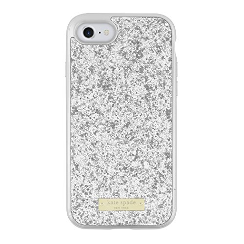 kate spade new york Glitter Case with Bumper for iPhone 7 - Exposed Glitter Silver/Silver Silver Spade