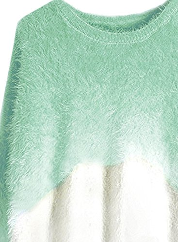 futurino Mohair de la mujer gradiente sudadera de manga larga jersey de cuello redondo para hombre Verde