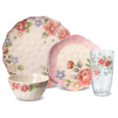 Pfaltzgraff Tea Rose Melamine Outdoor Dinnerware Set (32 Piece)