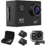 Action Camera, 4K16MP WiFi Waterproof Sports Diving Cam DV Camcorder 170° Ultra Wide-Angle Len with Sensor 2 Rechargeable Batteries/Floating Hand Grip and Accessories Kit