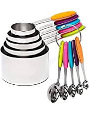 VOJACO Measuring Cups and Measuring Spoons, Measuring Cups and Spoons Set of 10 Pieces, Stainless Steel Measuring Cup Set for Dry Liquid Food, Metal Measure Cups for Kitchen Cooking Baking (Colorful)