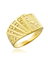 Men's 10k Yellow Gold Lucky Nugget Band Royal Flush of Hearts Poker Ring