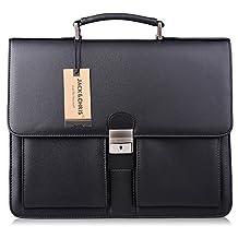 Jack&Chris® Mens New PU Leather Briefcase Messenger Bag Laptop Bag, MBYX015