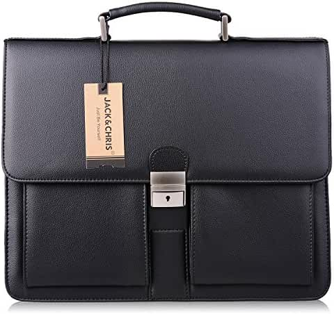Jack&Chris Mens New PU Leather Briefcase Messenger Bag Laptop Bag, MBYX015