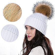 iNextStation Fur Pompon Ball Women Winter Warm Knitted Hat Crochet Beanie Ski Cap