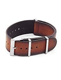 DASSARI Marquis NATO Watch Strap in Vintage Hand Finished Vintage Italian Leather Rust 20mm