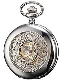 KS Men's Silver Skeleton Hand Winding Mechanical Analog Pocket Watch + Chain KSP048