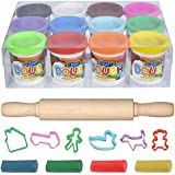 ArtCreativity Dough Non-Toxic Creativity Play Set with 12 Vibrant Colors Clay, 6-Shape Cutters and 7.5-Inch Rolling Pin, Great Modeling Clay Playset for Kids