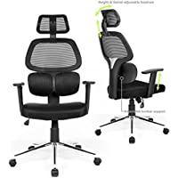 Coavas Ergonomic Office Chair Mesh Computer Desk Chair Adjustable High Back Swivel Task Chairs Lumbar Support Backrest Headrest Armrest Seat Height Home Office Conference