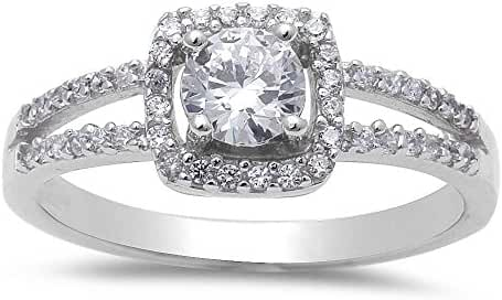 Round Shape Fine Cubic Zirconia .925 Sterling Silver Ring Sizes 4-10