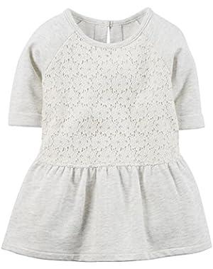 Carters Peplum Lace Tunic Play Dress Gray 5 Toddler