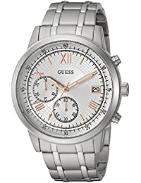 GUESS Men's Quartz Stainless Steel Casual Watch, Color:Silver-Toned (Model: U1001G1)