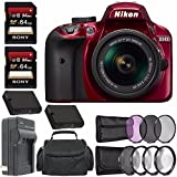 Nikon D3400 DSLR Camera with 18-55mm AF-P DX Lens (Red) + Battery + Charger + 64GB + Spacious Carrying Case Bundle