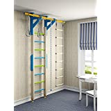 Kids Wood Playground Play Set for Floor & Ceiling / Wooden Indoor Training Gym Sport Set with Accessories Equipment: Climber, Gymnastic Swing Rings, Climbing Rope, Rope Ladder / Wallbarz Woodsy