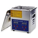 Flexzion Commercial Ultrasonic Cleaner 2L Large Capacity Stainless Steel with Heater and Digital Timer for Electronic Tool Jewelry Watch Glasses Rings Dental/Lab/Hospital Instruments
