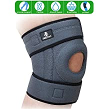 BSUEA Knee Brace Support with Adjustable Strapping Non-Slip Breathable Sleeve. Meniscus Tear Support, Open-Patella Stabilizer Knee Brace for Running, Sports, Arthritis and Injury Recovery