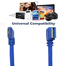 USB 3.0 Type A Male to Micro B Male 24/28AWG Cable USB3.0 Type A Male Right Angle to Micro B Male Right Angle (1 Feet, Blue)