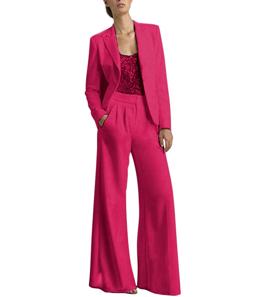 Fuchsia TBB Women's 2 Pieces Mother of The Bride Dress Pant Suits with Polyester Jacket Office Lady