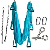 Wellsem Complete Set Flying Aerial Yoga Hammock Yoga Inversion Sling Trapeze for Body Building Workout Fitness with Daisy Chain&carabiners (Sky Blue)