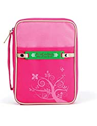 Hot Pink 7.25 x 10 inch Reinforced Polyester Bible Cover Case with Handle