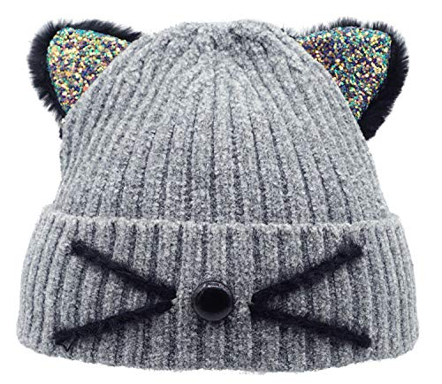 Bellady Kid Girl Hat Cute Cat Ear Beanie Cap Warm for Fall Winter,Child_Grey
