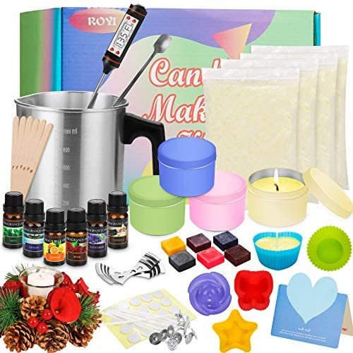 Candle Making Kit Supplies Scented Soy Candles Colored Candle Craft Set DIY Gift Set by means of Soy Wax, Fragance Oil, Dyes, Wicks, Silicone Mold, Pot,Candle Tins for Candle Beginners DIY Starter