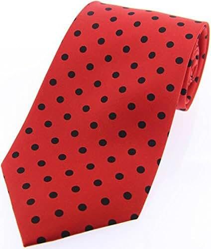Red/Black Polka Dot Silk Twill Tie by David Van Hagen