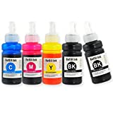 J2INK Compatible 5 Pack EPSON 664 Black Cyan Magenta Yellow New EcoTank Replacement Ink Bottles