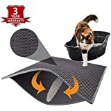 """KAG Cat Litter Mat Litter Trapper Large Size 30"""" X 24"""", Honeycomb Double-Layer Design Waterproof Urine Proof Material, Easy Clean Scatter Control (Grey)"""
